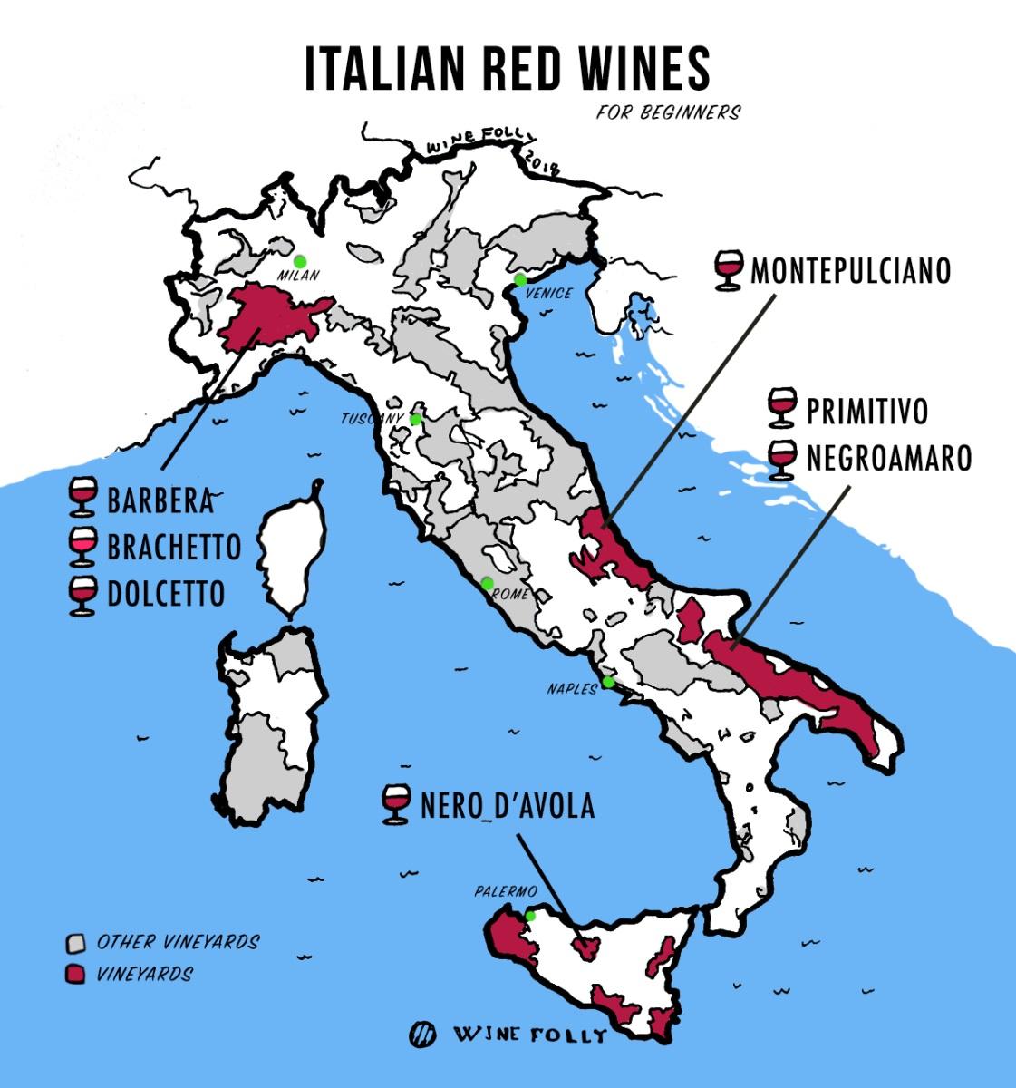 Vùng trồng nho làm rượu vang đỏ Ý