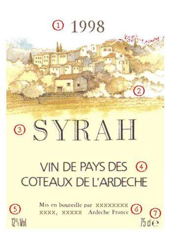 Cách đọc nhãn chai rượu vang Pháp Vin de pays