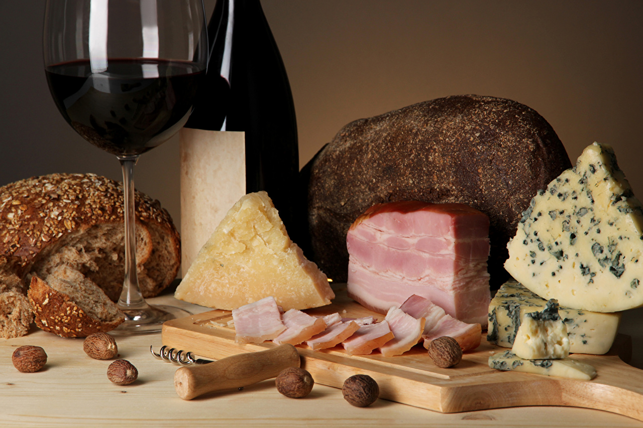 Cheese Wine Bread Ham Nuts Cutting board Stemware 555795 1280x853